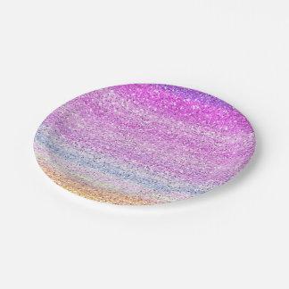 Color Spectrum Sparkle Effect 7 Inch Paper Plate