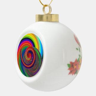 Color spirals ceramic ball christmas ornament