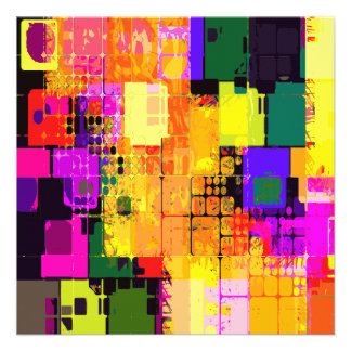 Color Splash Abstract Art Geometric Patterns Custom Announcements