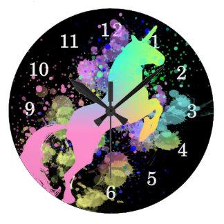 Color Splash Fantasy Rainbow Unicorn Large Clock
