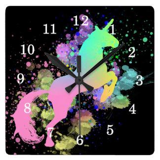 Color Splash Fantasy Rainbow Unicorn Square Wall Clock