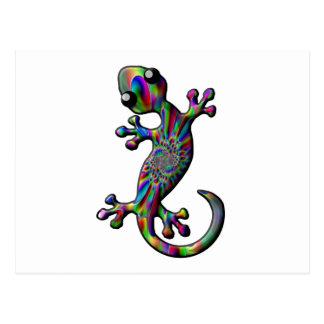 Color Splash Paisly Climbing Gecko Lizard Postcard