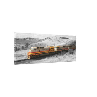 Color Splash Photograph - Outback Freight Train Gallery Wrap Canvas