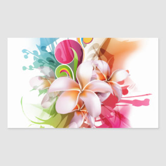 Color Splash Plumeria Hawaiian Flower Rectangular Sticker