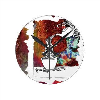 Color Splash Tea! Pour me a Magical Cup of Tea! Round Clock