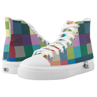 color squares background abstract geometric patter printed shoes