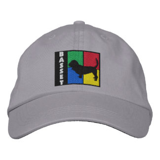 Color Squares Basset Hound Embroidered Baseball Caps