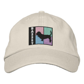 Color Squares Basset Hound Embroidered Baseball Cap