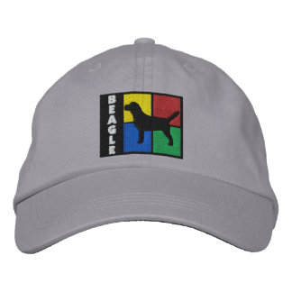 Color Squares Beagle Embroidered Cap