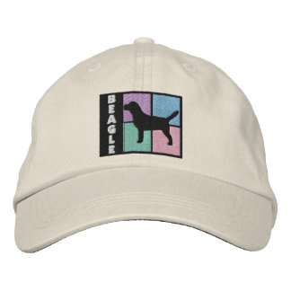 Color Squares Beagle Embroidered Hats