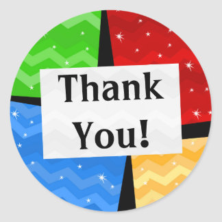 Color Squares Festive Thank You Party Round Sticker