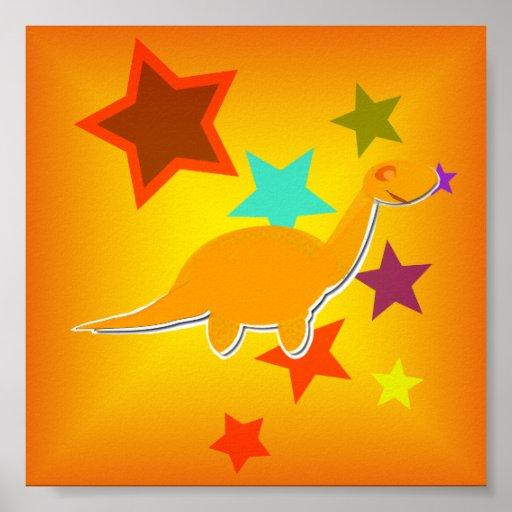 Color Stars Orange Dinosaur Small Poster Print
