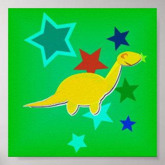Color Stars Yellow Dinosaur Small Poster Print
