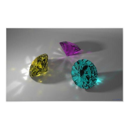 Color Stones (Cyan, Magenta, Yellow) Photoprint Photo Print