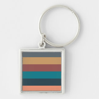 color stripes in colorful pastel Silver-Colored square key ring