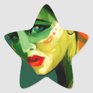 Color Study Painted Beauty Portrait Star Sticker