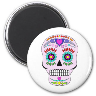 Color Sugar Skull 6 Cm Round Magnet