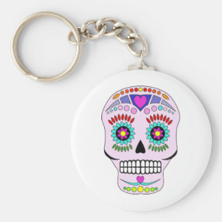 Color Sugar Skull Basic Round Button Key Ring
