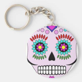 Color Sugar Skull Basic Round Button Key Ring