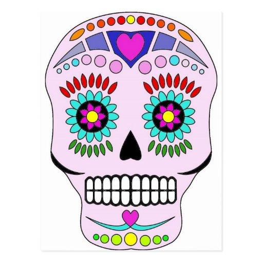 Color Sugar Skull Postcard