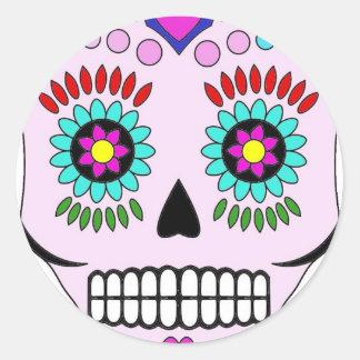 Color Sugar Skull Round Sticker