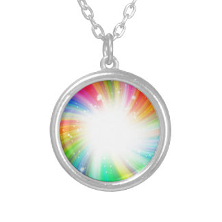 Color swirl silver plated necklace