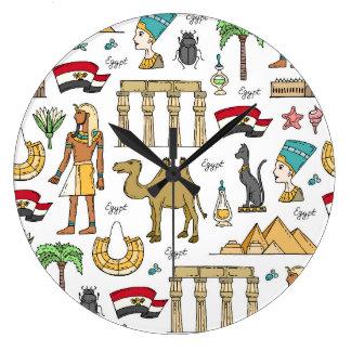 Color Symbols of Egypt Pattern Clock