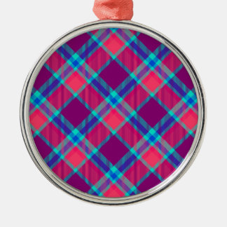 Color tartan texture Silver-Colored round decoration
