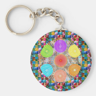 Color Therapy Graphics : Healing Energy Chakra Basic Round Button Key Ring