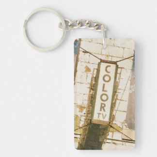 Color TV Motel Sign Key Chain