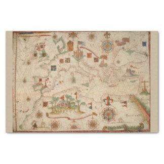 Color Vintage Europe Mediterranean Old World Map Tissue Paper