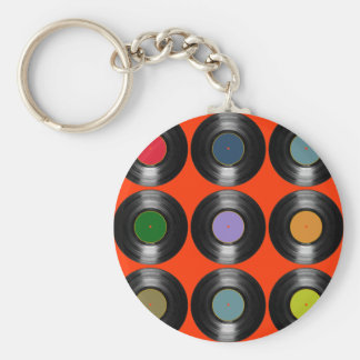 color vinyl records pattern basic round button key ring