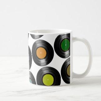 color vinyl records pattern basic white mug