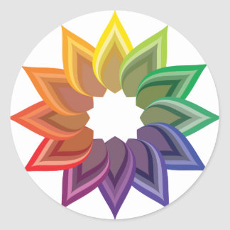 Color Wheel Flower Round Sticker