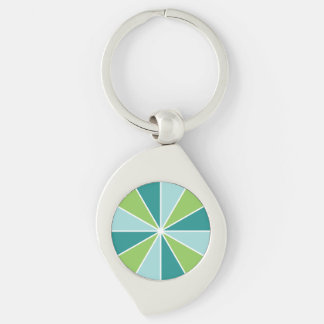 Color Wheel / Rays custom key chain Silver-Colored Swirl Key Ring