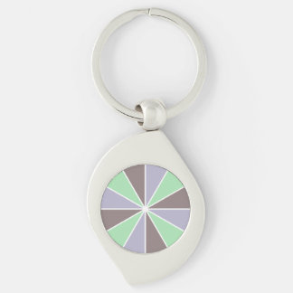 Color Wheel / Rays custom key chain Silver-Colored Swirl Key Ring