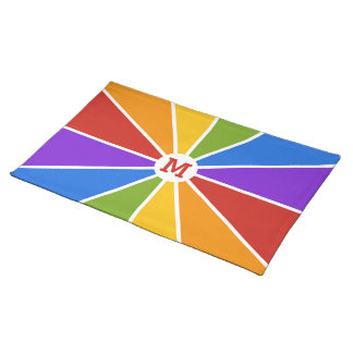 Color Wheel / Rays custom monogram placemat