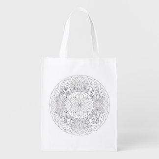 Color-Your-Own Mandala  060517_3 Reusable Grocery Bag