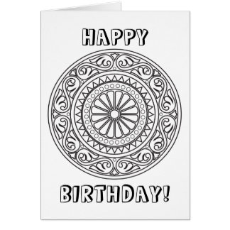 Color Your Own Mandala with Custom Text Card