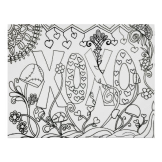 Color your own poster~ Whimsical XOXO Poster