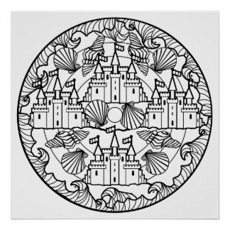 Color Your Own Sandcastle Mandala Coloring Poster