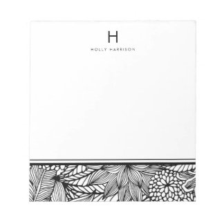 Color Your Own | Tropical Black and White Monogram Notepad