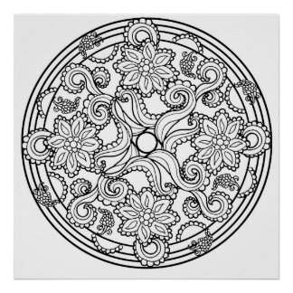 Color Yourself Mandala Poster Paisley Sea Creature