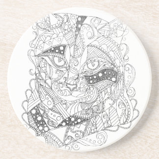 Colorable Cat Abstract Art Adult Coloring Coaster