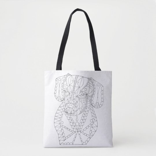 Colorable Dachshund Abstract Art Adult Colouring Tote Bag