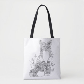 Colorable Fox Abstract Animal Art Adult Coloring Tote Bag