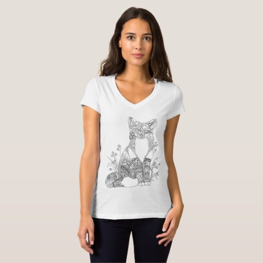 Colorable Fox Abstract Animal Art Adult Colouring T-Shirt