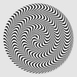 Colorable Optical Block Spiral Round Stickers