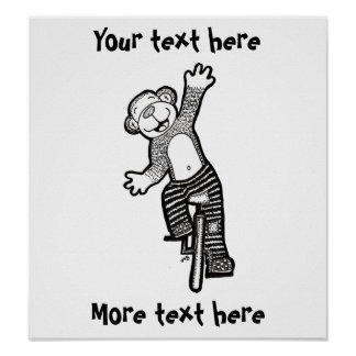 Colorable Unicycle Monkey Poster