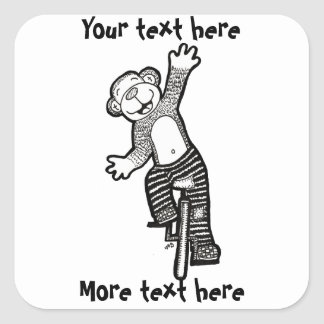 Colorable Unicycle Monkey Square Sticker
